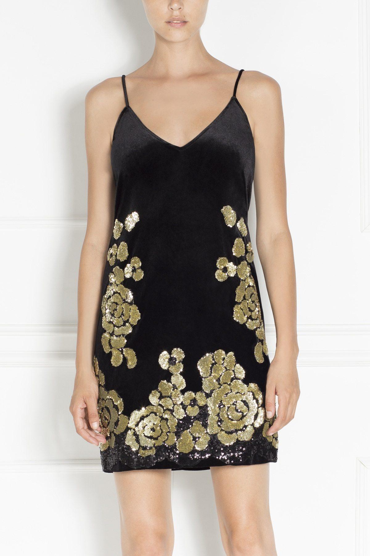 Rochie mini din catifea neagra Auriu/Negru