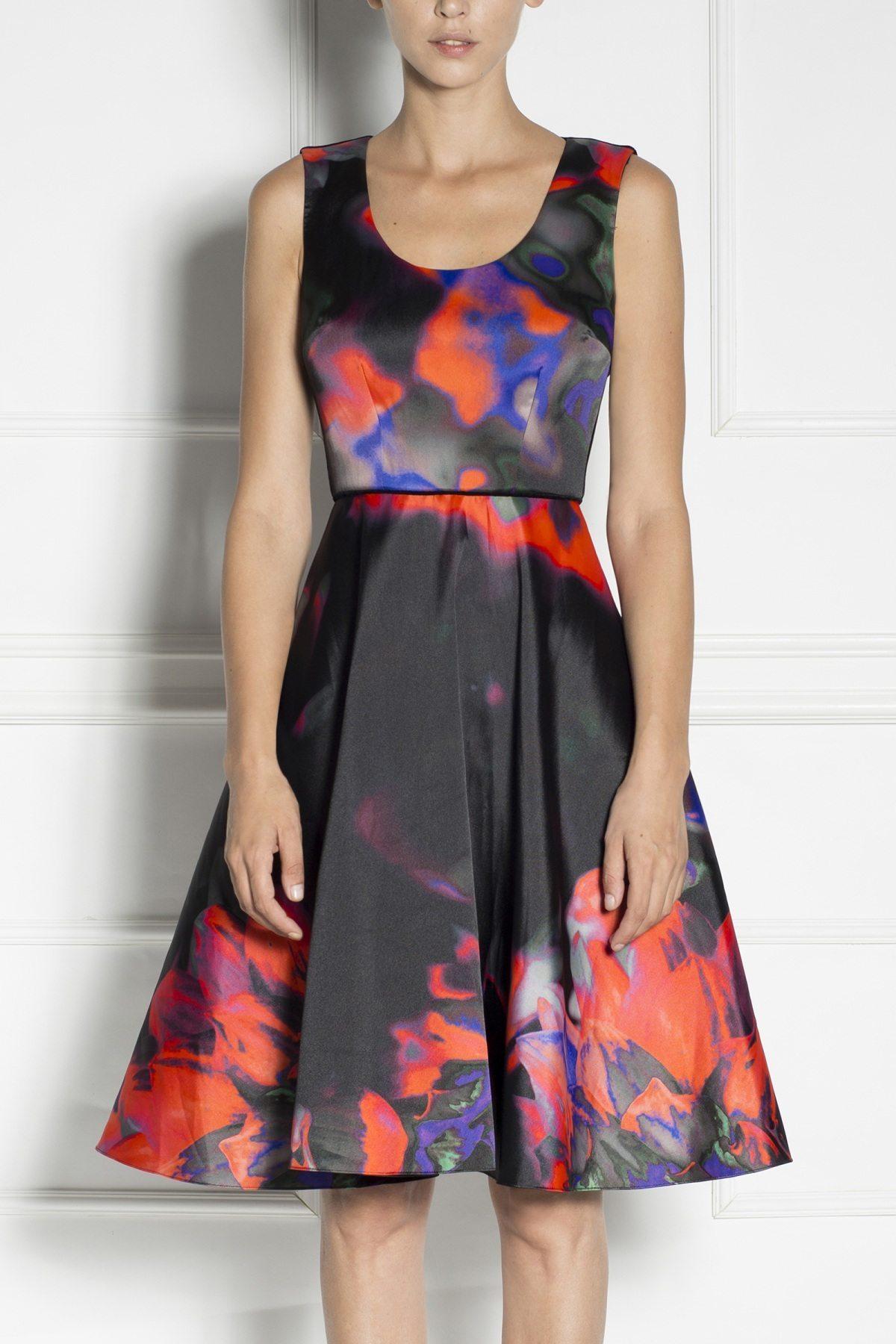 Rochie de seara midi cu imprimeu abstract Imprimat