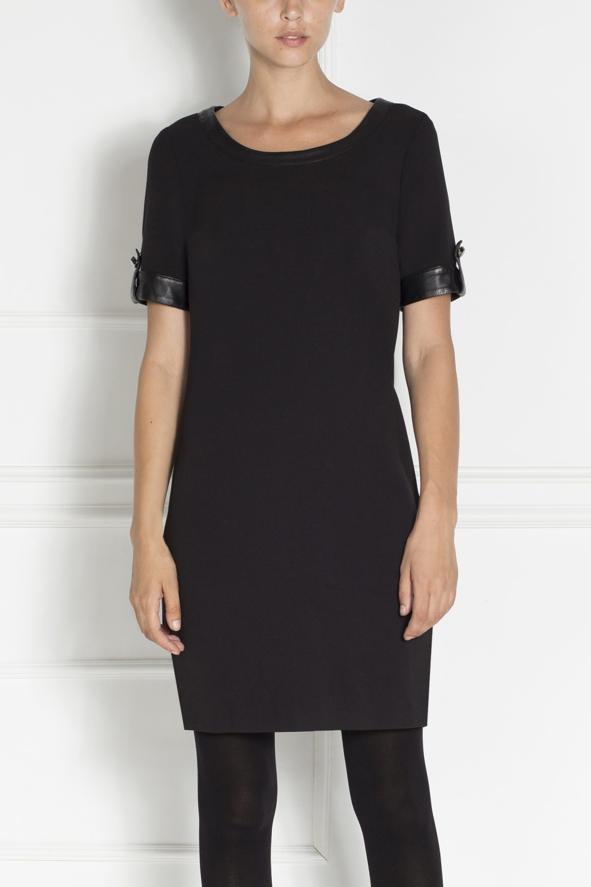 Rochie de zi midi, cu insertii din piele ecologica Negru