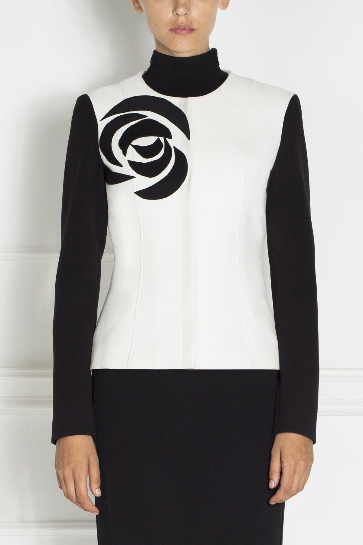 Jacheta eleganta in culori contrastante Negru/Alb