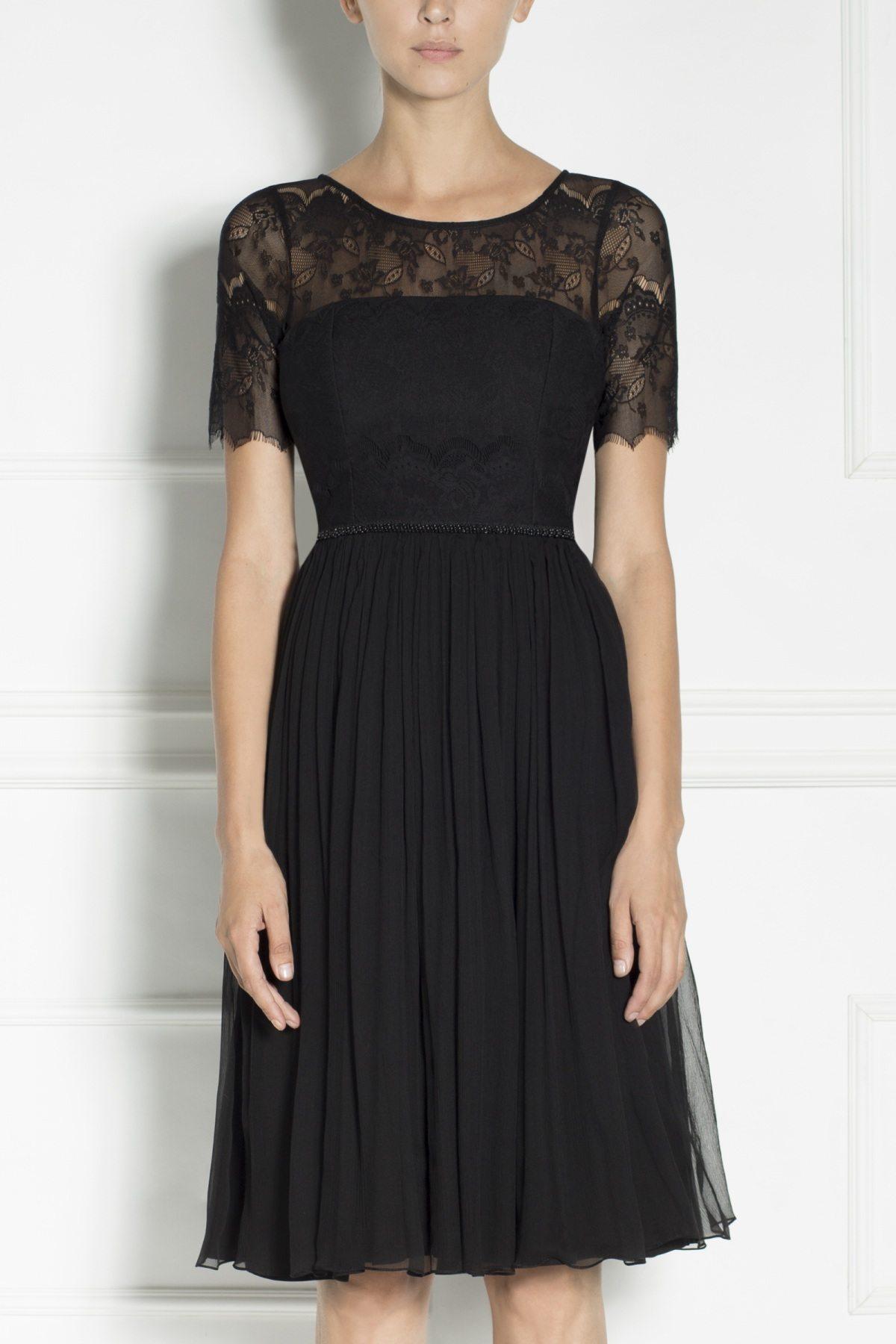 Rochie plisata cu top din dantela Negru