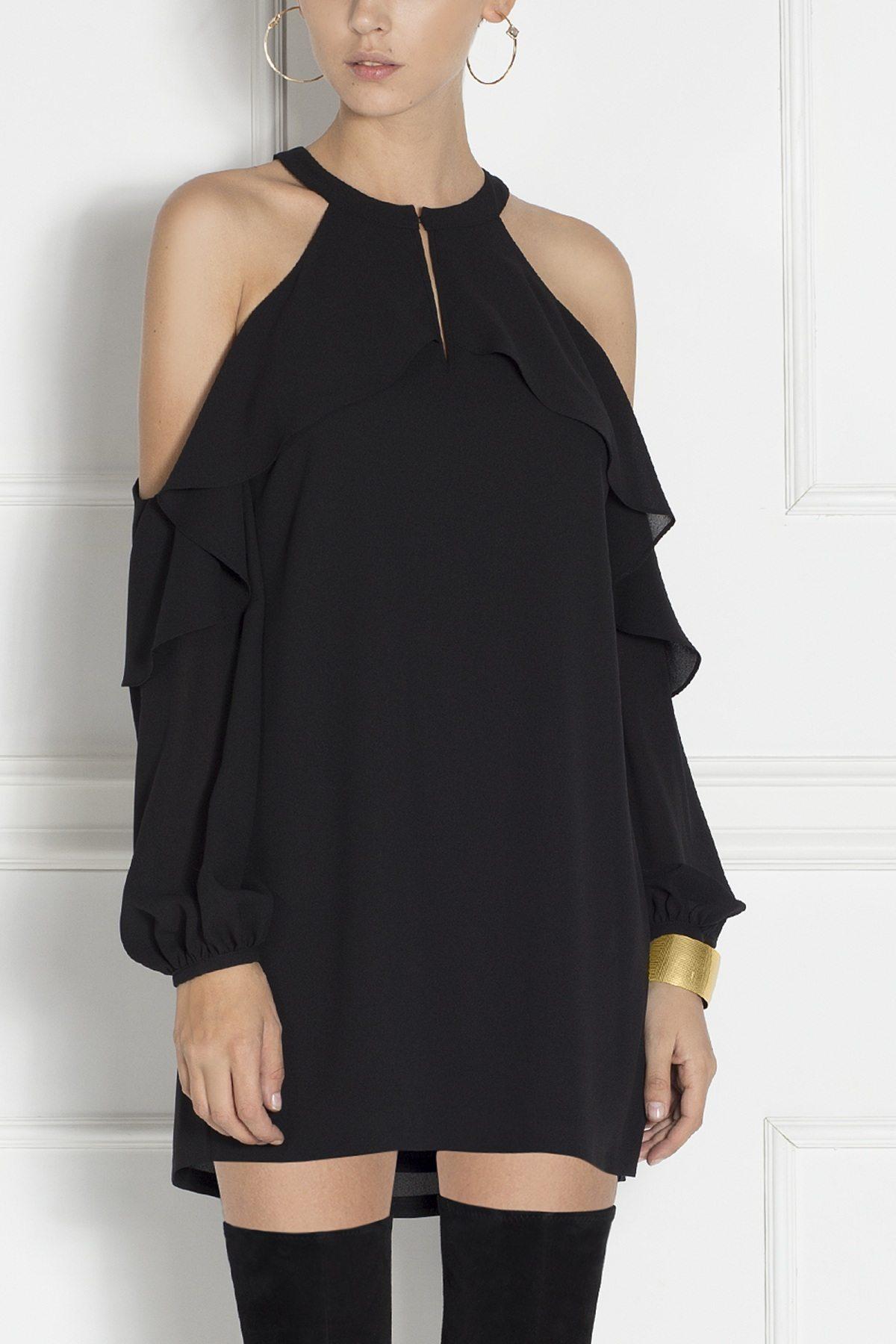 Rochie de seara mini cu mesa de voal transparent Negru