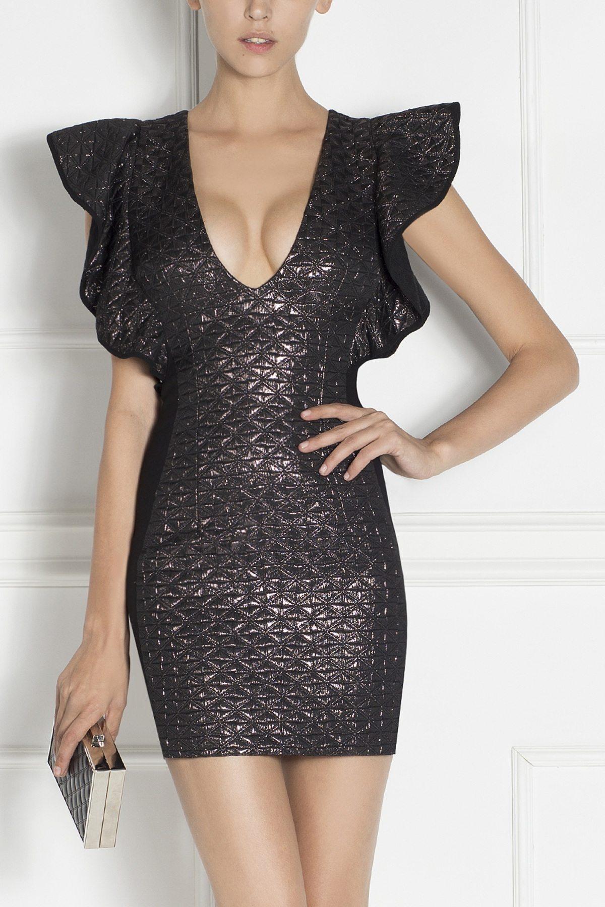 Rochie mini din tesatura cu reflexii metalice Negru