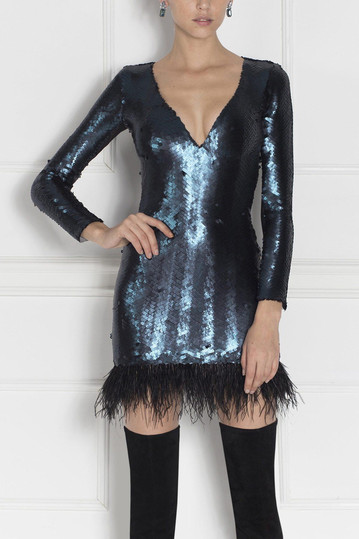 Rochie de seara mini cu paiete Albastru