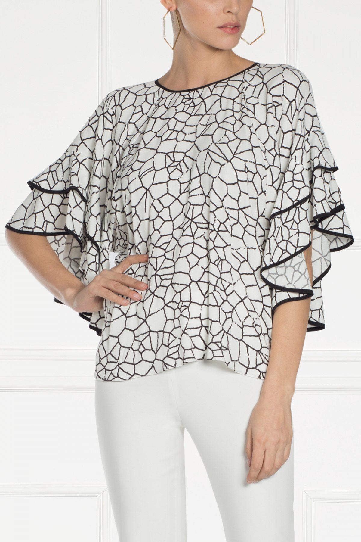 Top alb cu imprimeu geometric Imprimat/Crem