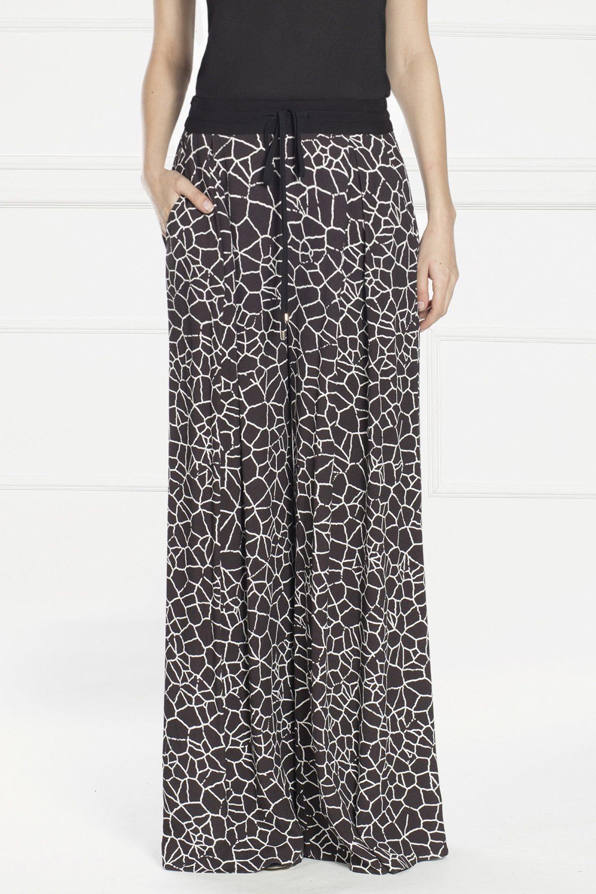 Pantaloni palazzo din tesatura silky touch Alb/Negru