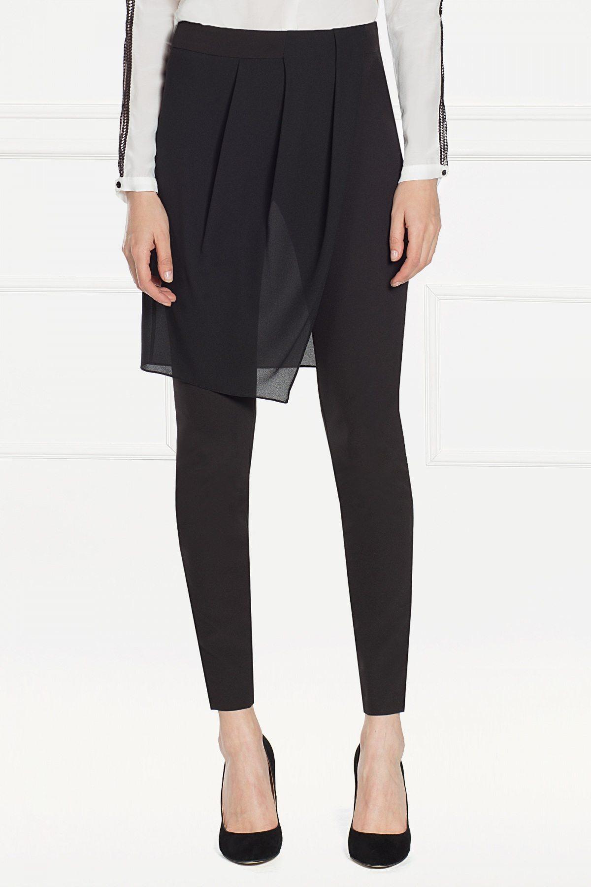 Pantaloni versatili cu voal aplicat Negru