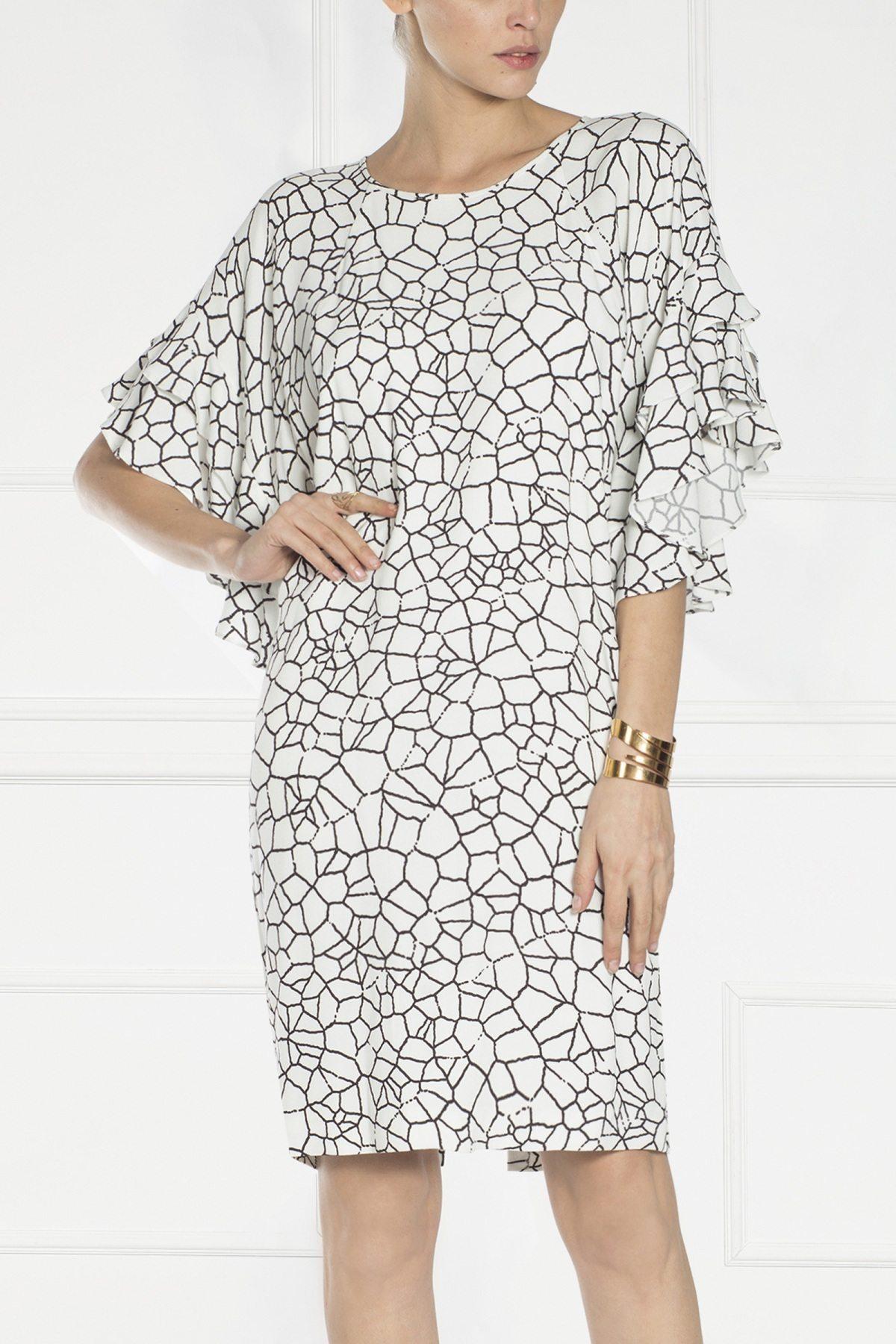 Rochie cu print geometric Imprimat/Crem