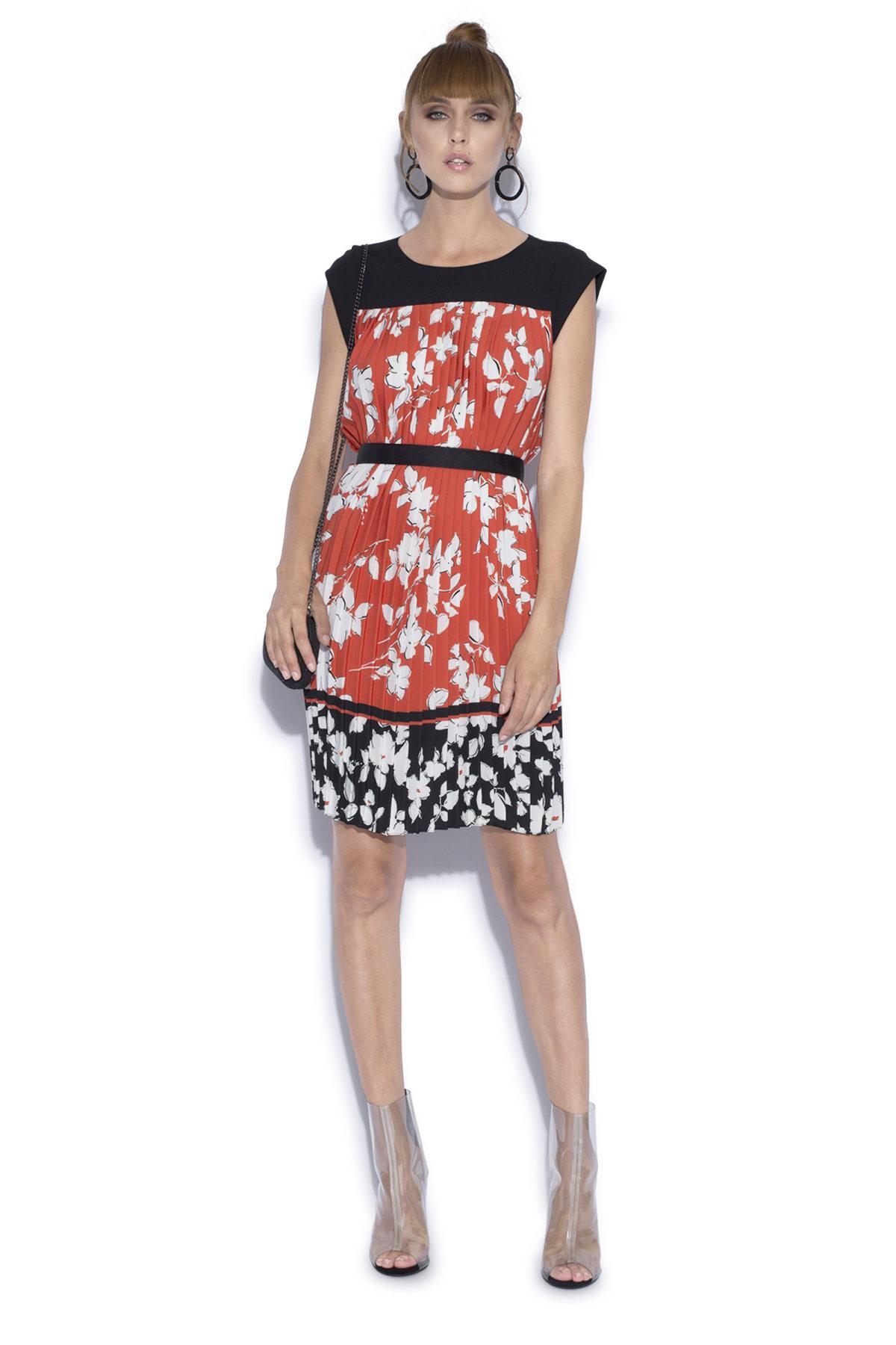 Rochie plisata cu imprimeu floral Print