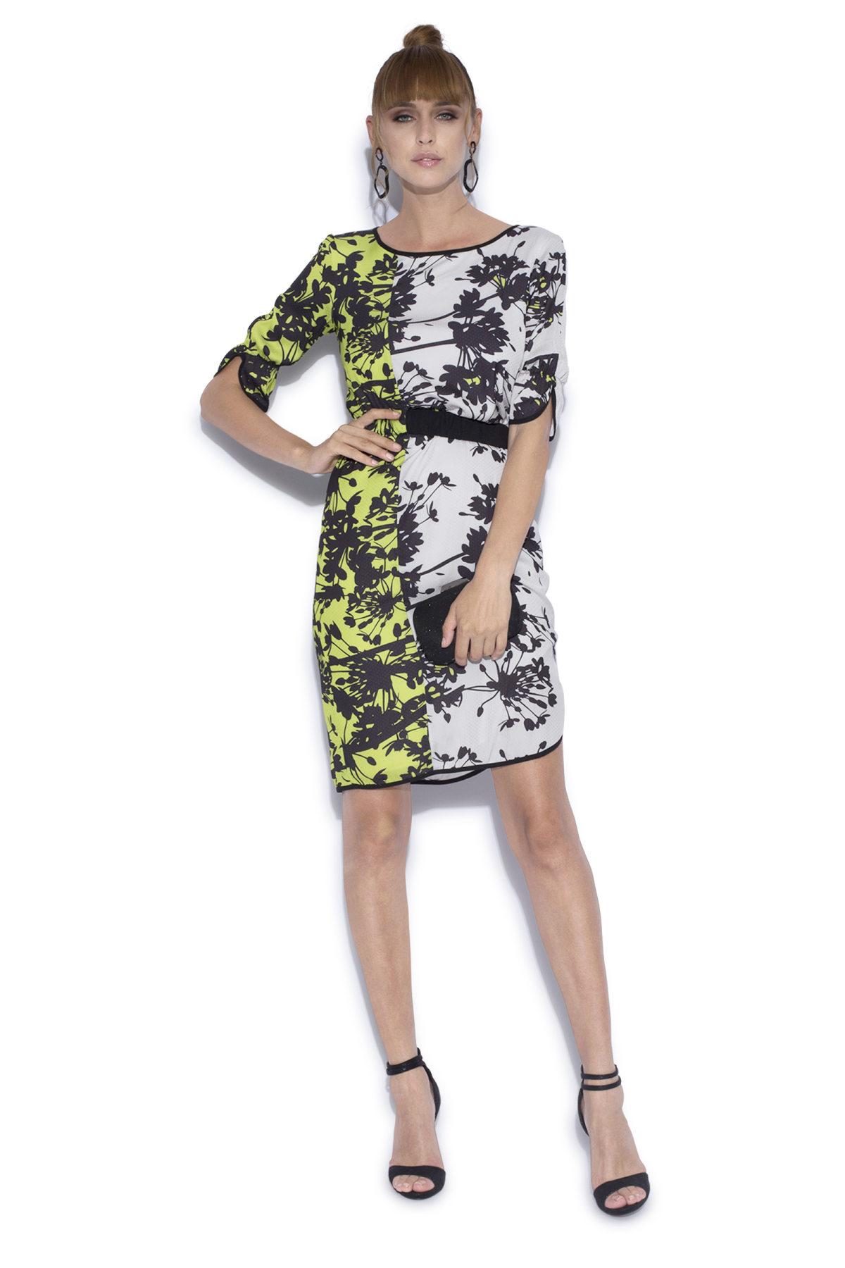 Rochie imprimata cu elastic in talie Print