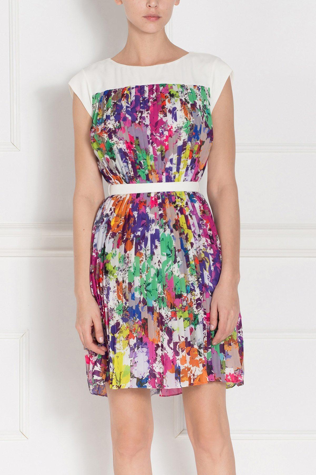 Rochie imprimata floral cu centura in talie Print