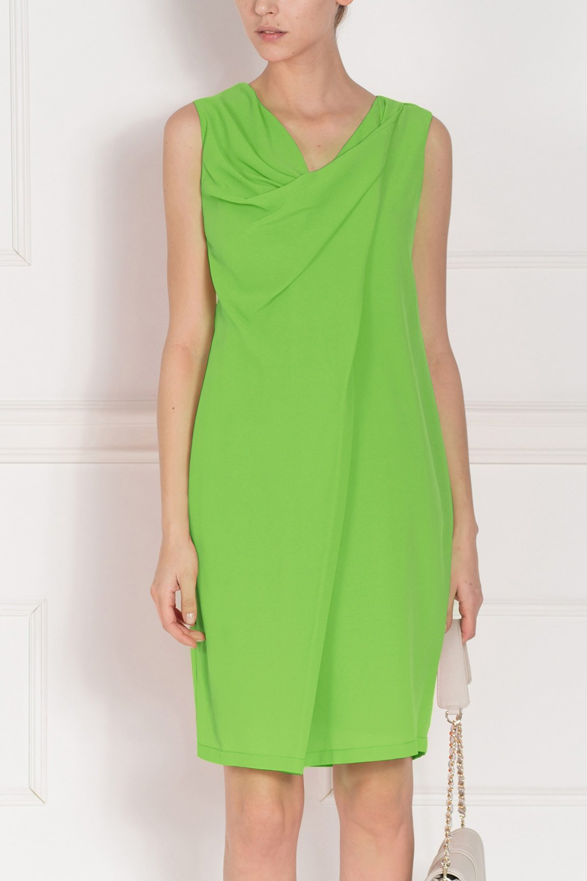Rochie midi cu guler drapat Verde