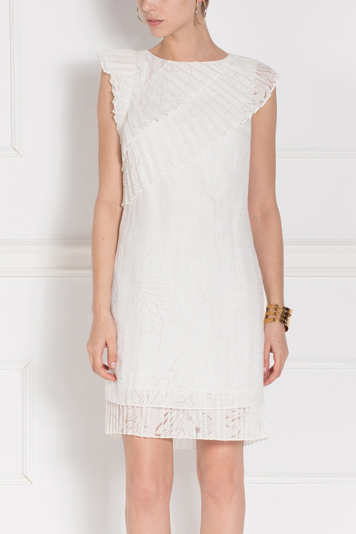 Rochie cu volane plisate Crem