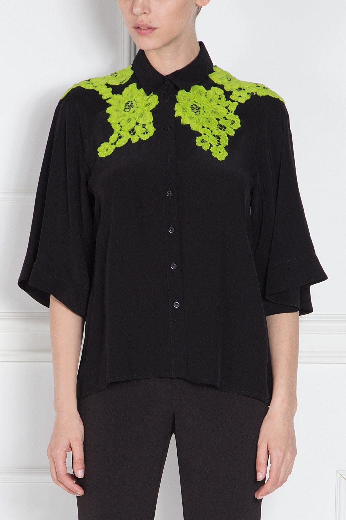 Camasa neagra cu broderie verde Negru