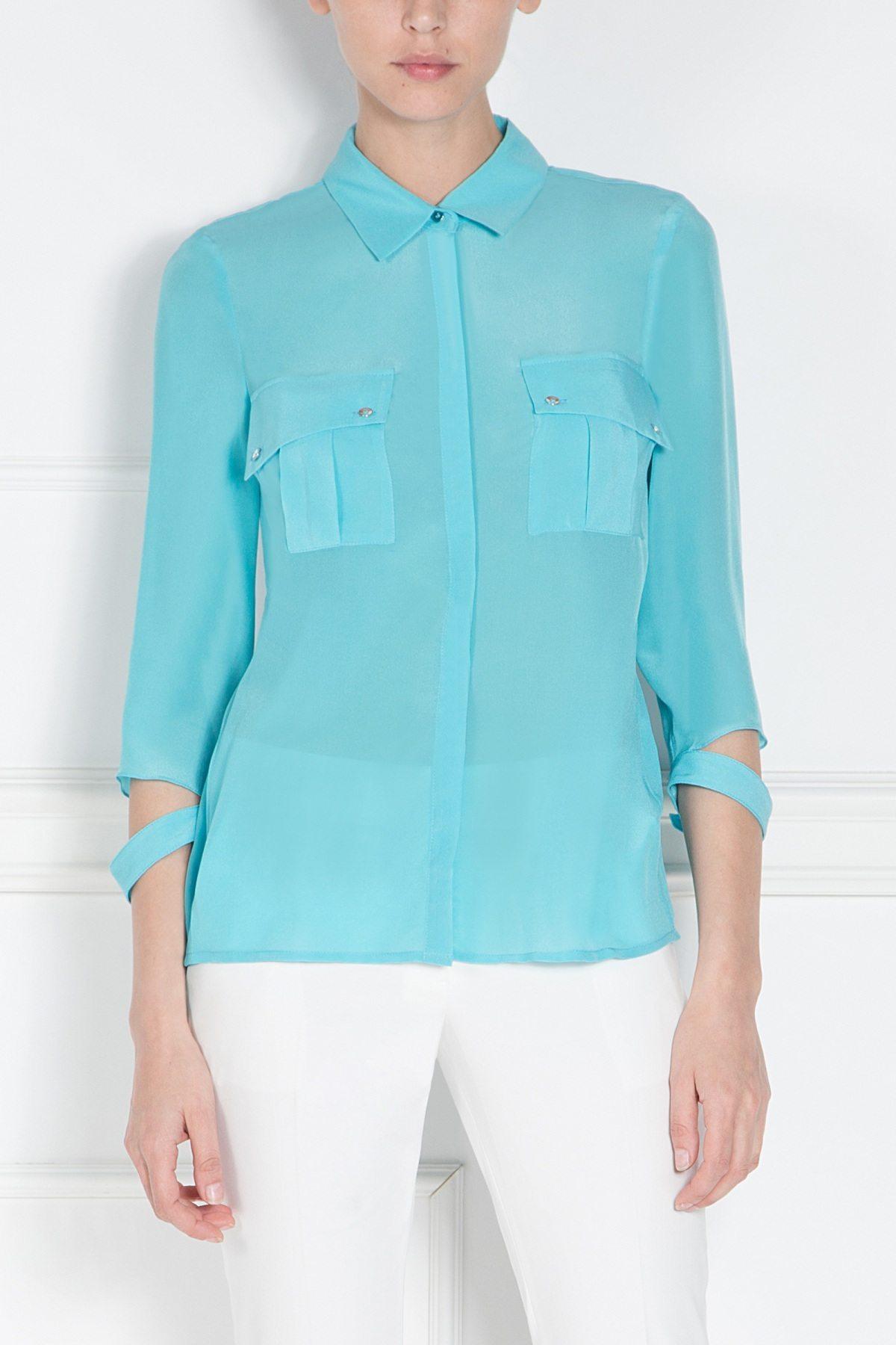 Camasa albastra cu buzunare mari Albastru