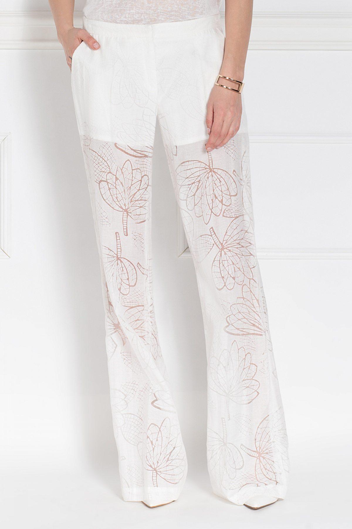 Pantalon din tesatura transparenta cu imprimeu floral Crem