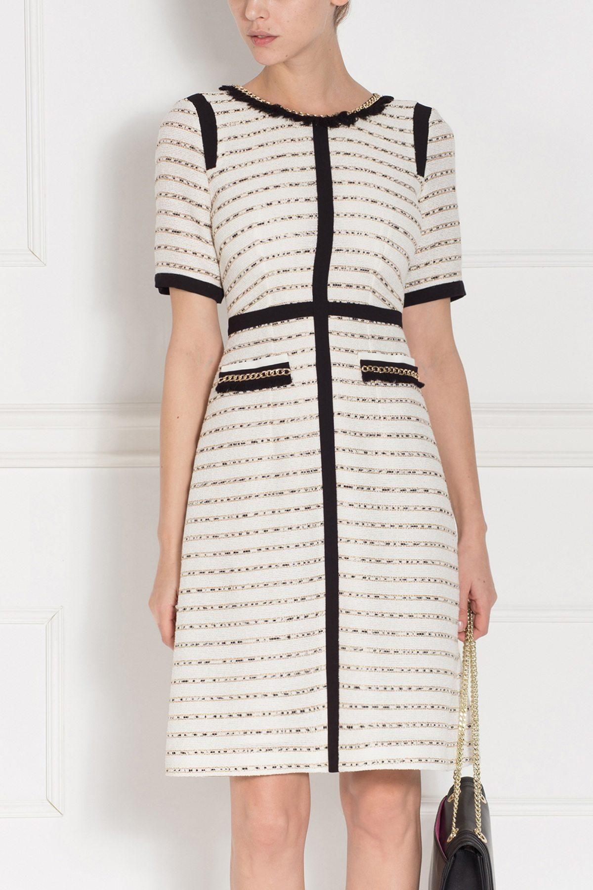 Rochie de zi cu detalii contrastante Crem