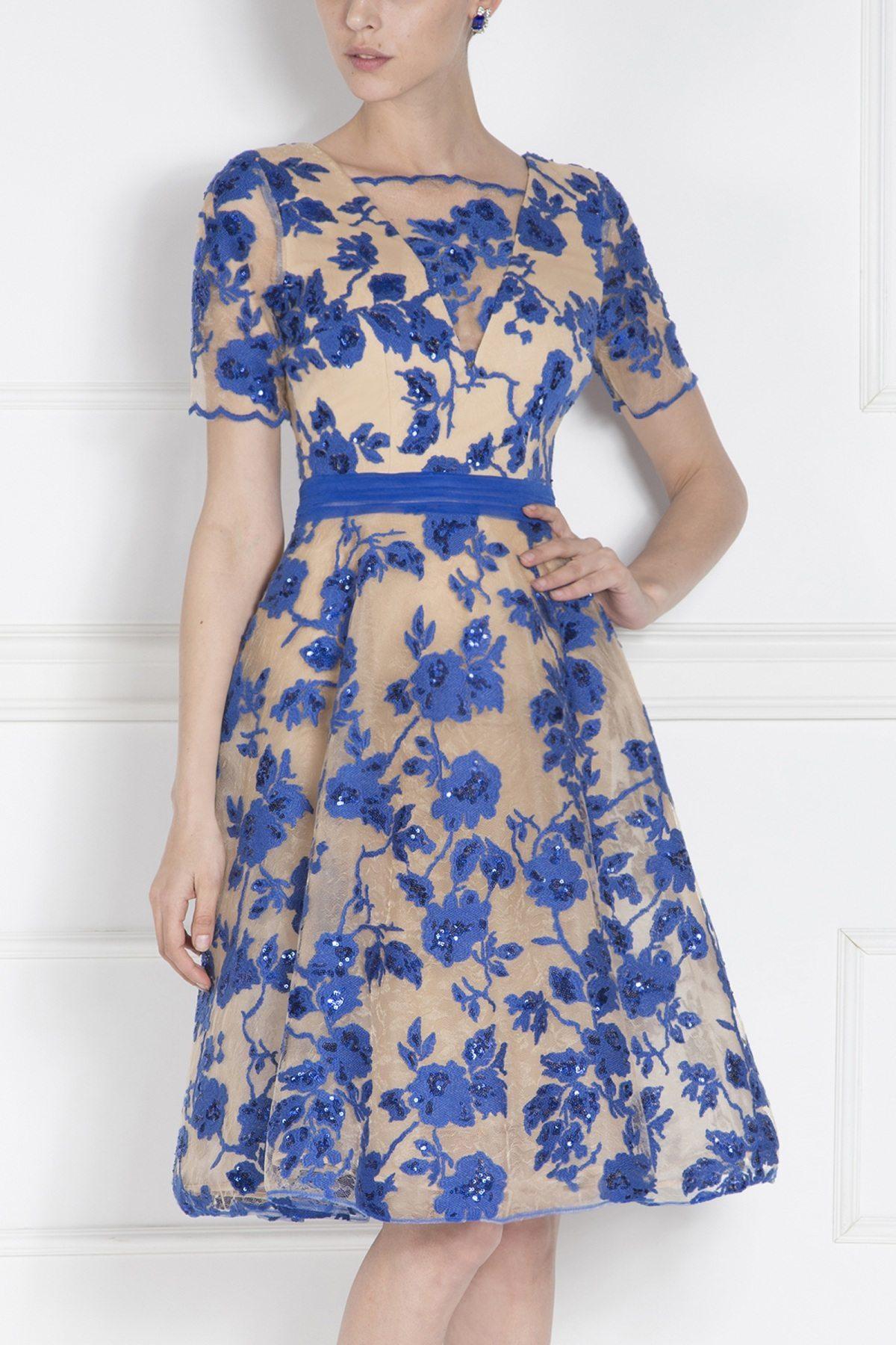Rochie de seara cu bust din dantela Albastru