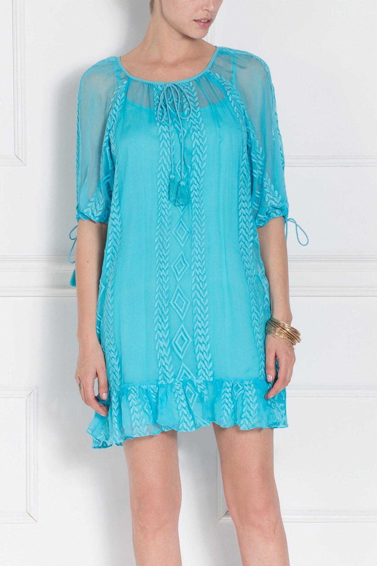 Rochie albastra cu broderie Albastru