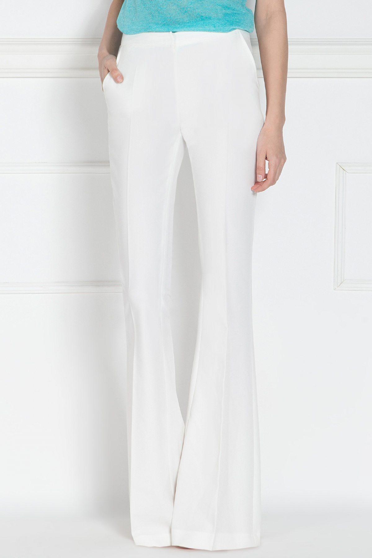 Pantaloni albi evazati Crem