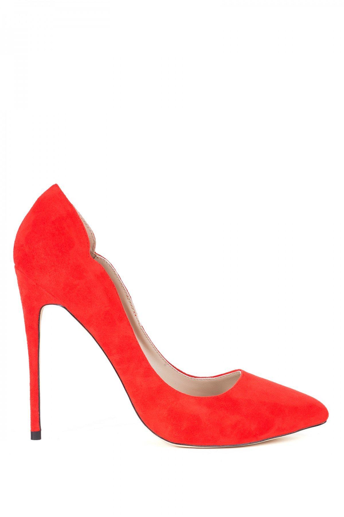 Pantofii stiletto din piele naturala Rosu