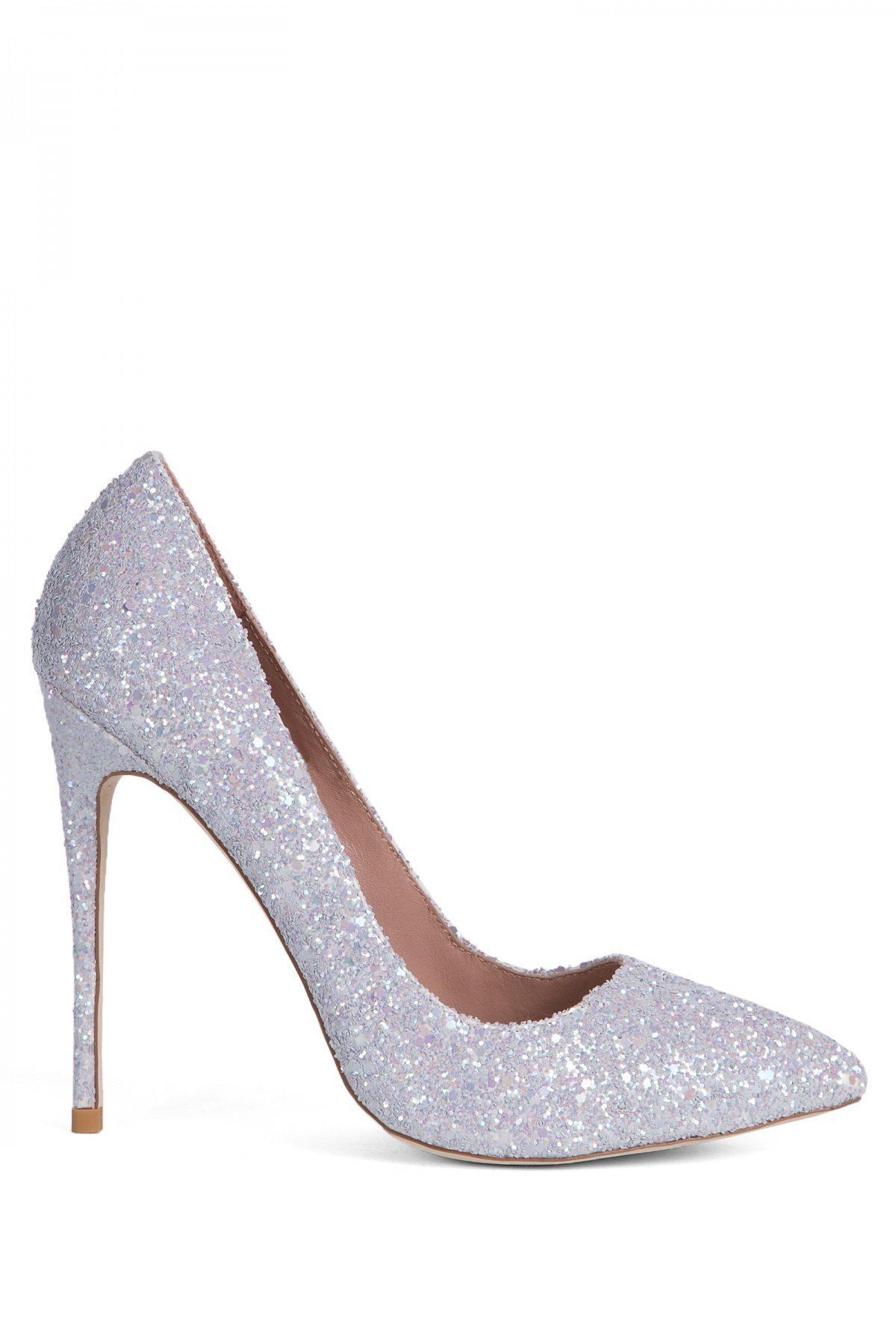 Pantofi cu gliter argintiu Gri