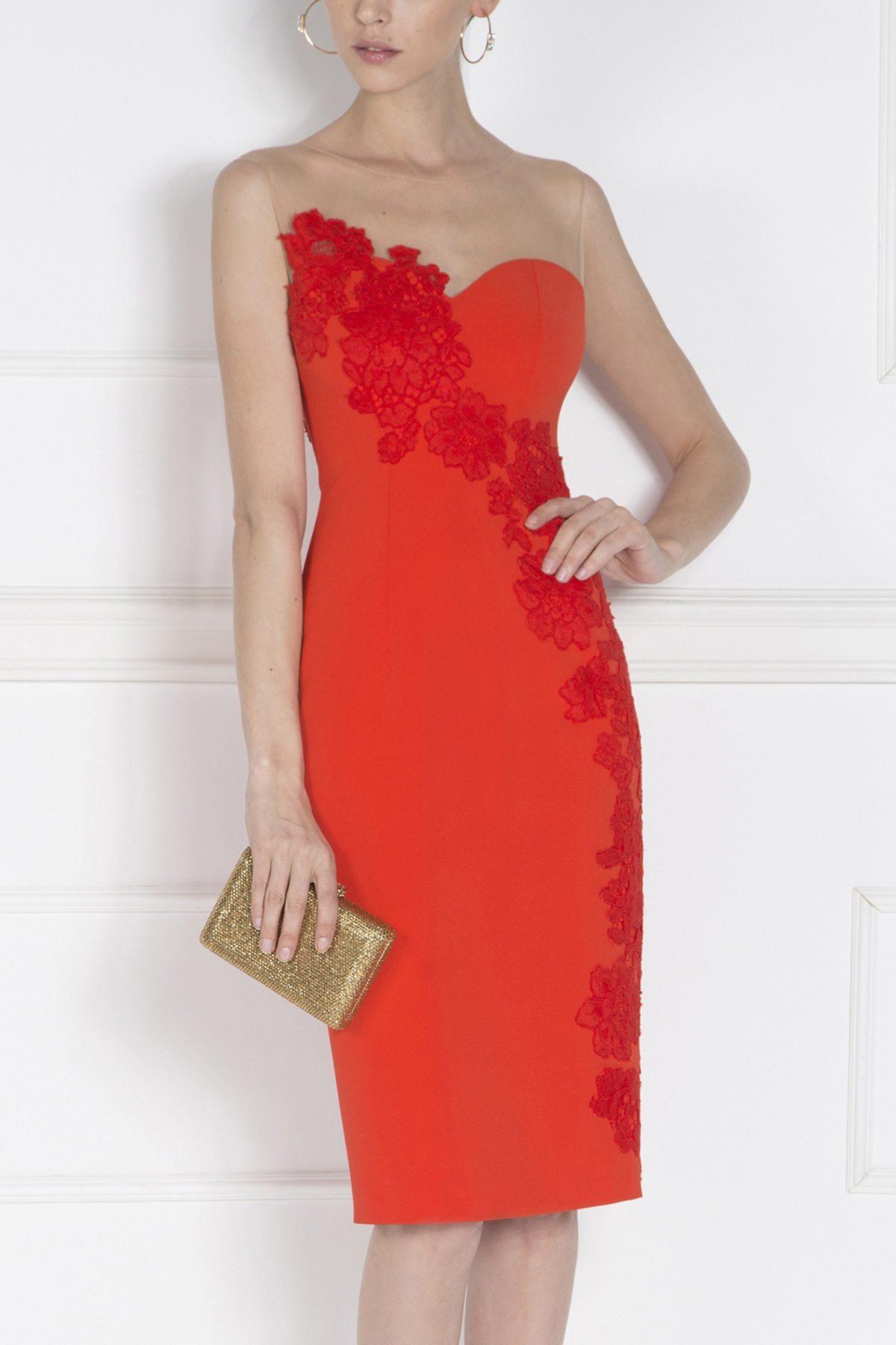 Rochie de seara cu insertie din dantela Rosu