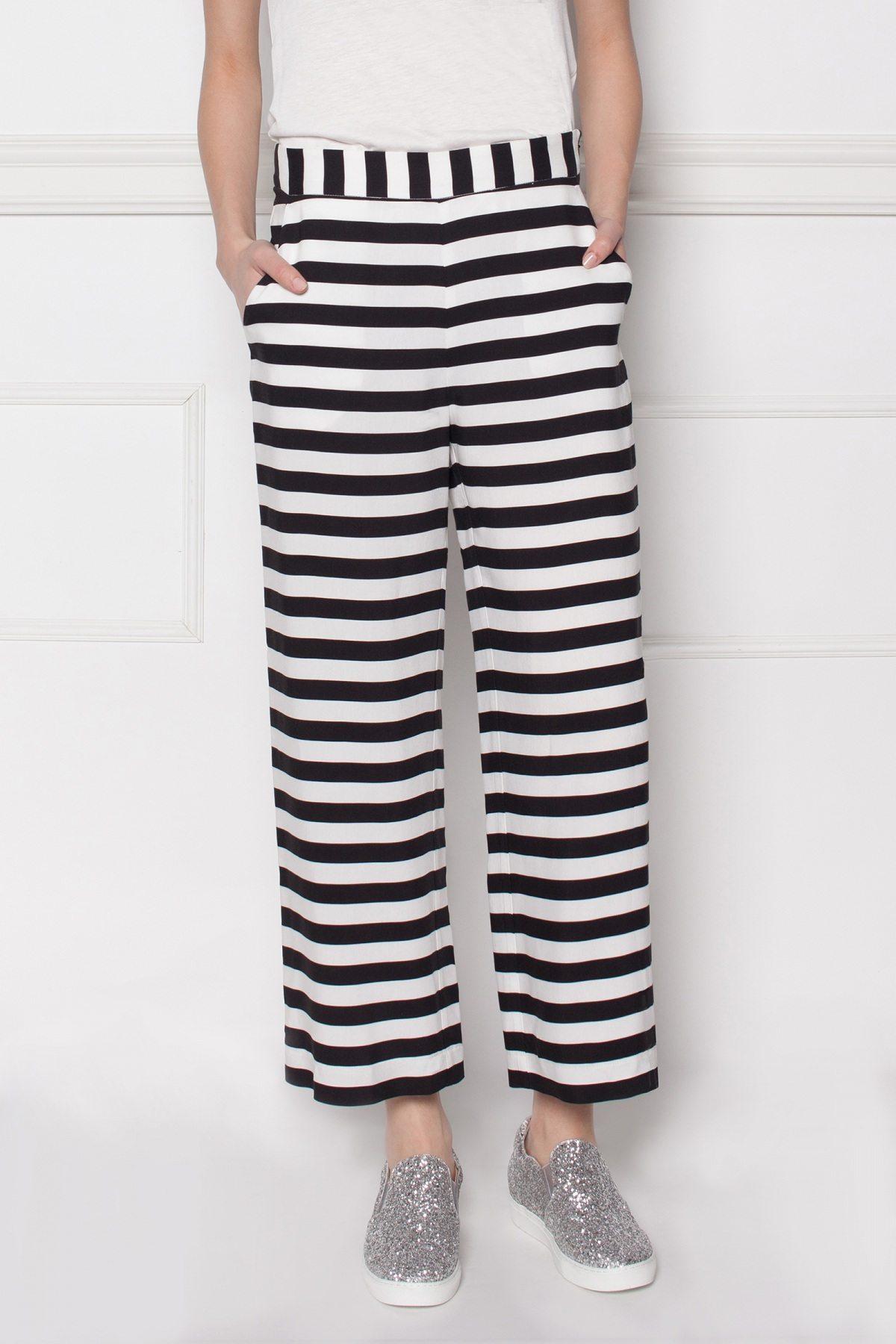 Pantaloni culottes din viscoza cu imprimeu grafic Dungi