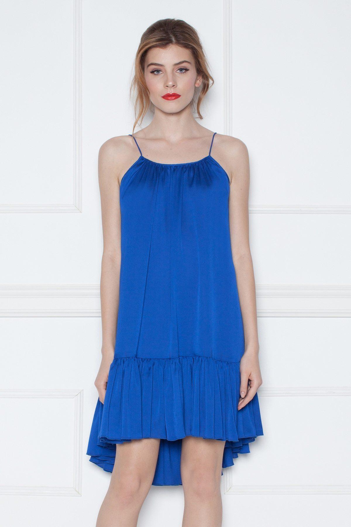 Rochie albastra asimetrica cu volan Albastru