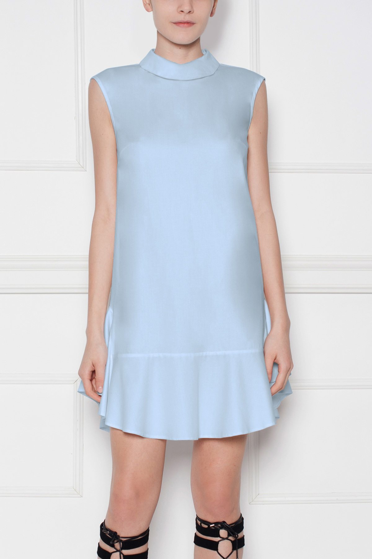 Rochie bleu cu guler tip camasa Albastru