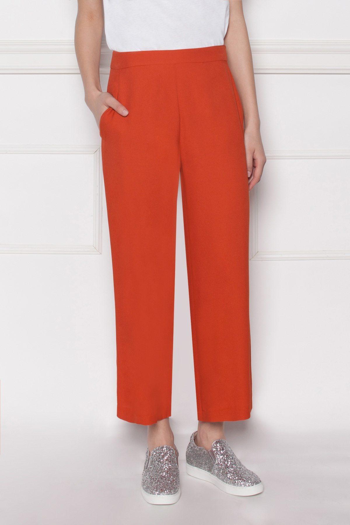 Pantaloni culottes din viscoza Rosu