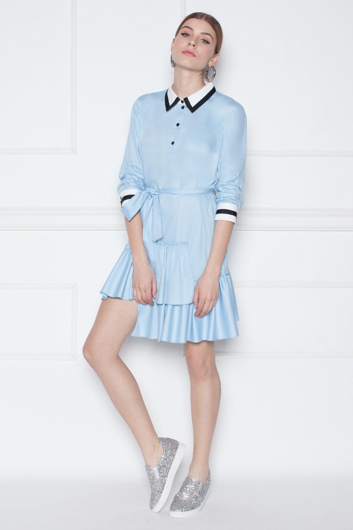 Rochie camasa mini asimetrica Albastru