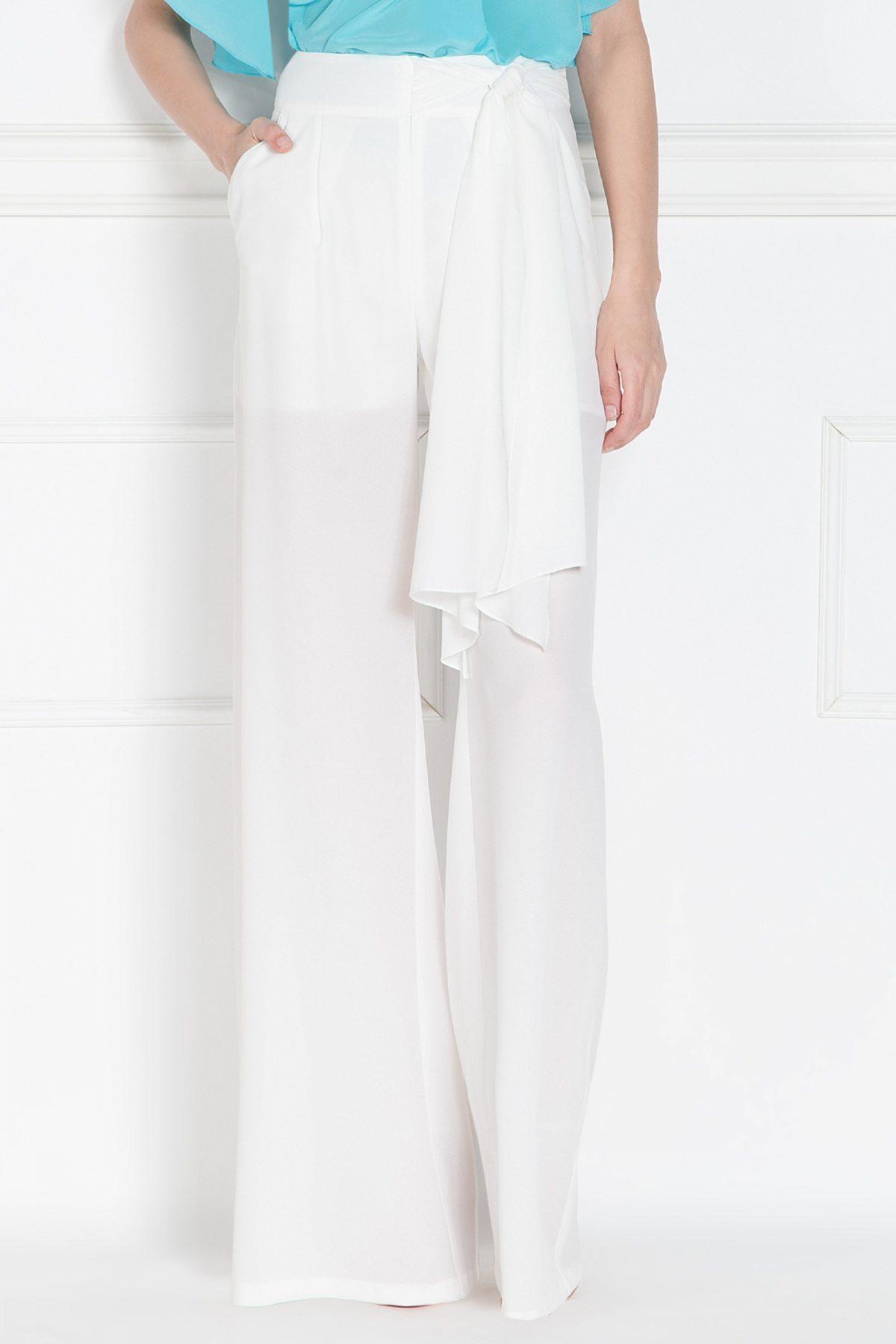 Pantaloni din voal alb Crem
