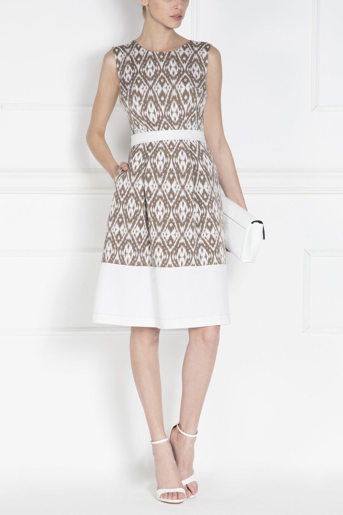 Rochie de zi cu imprimeu geometric Bej