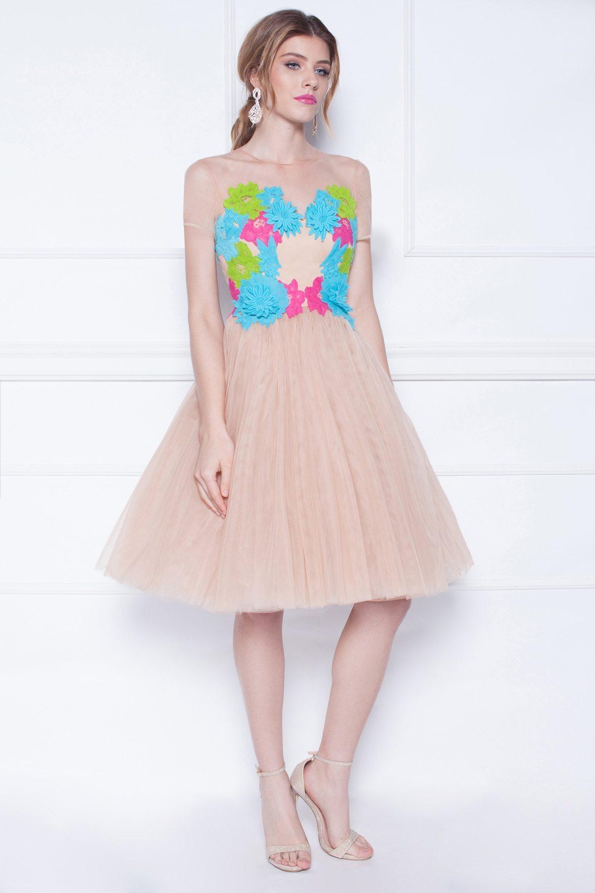 Rochie din tulle cu broderie multicolora Multicolor