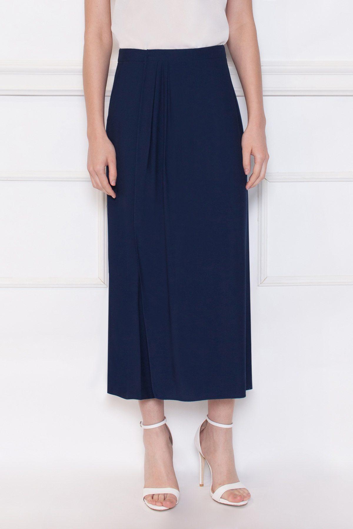 Pantaloni culotte din vascoza Bleumarin
