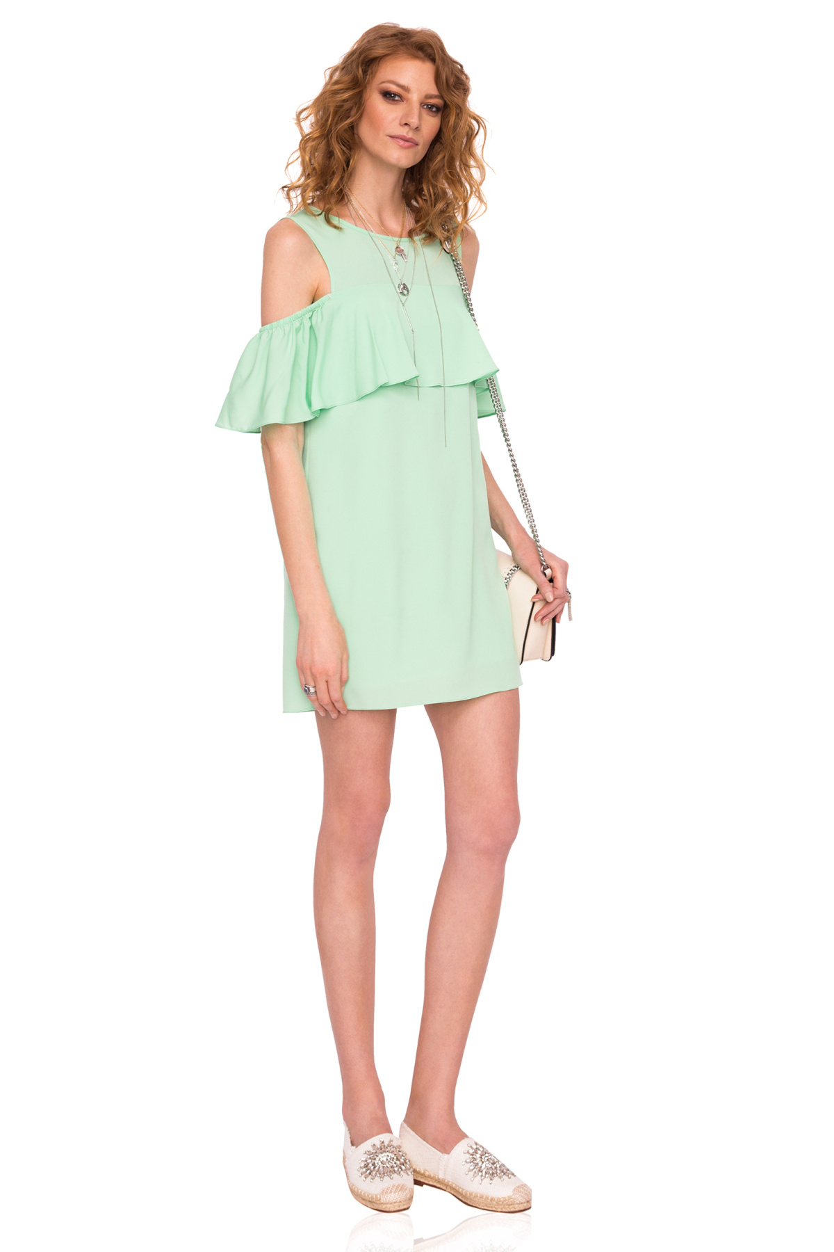 Rochie mini verde cu volane si decupaje Menta