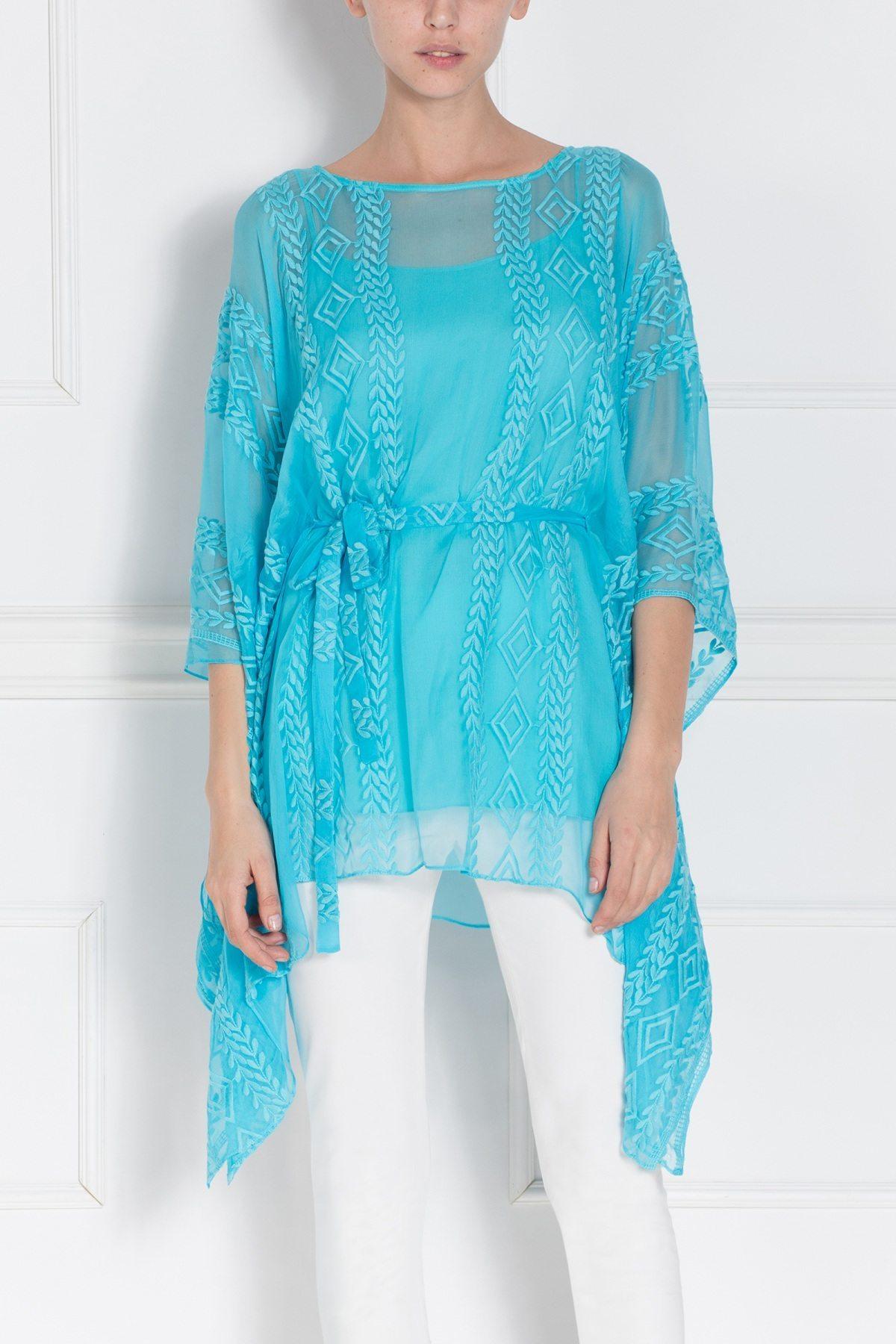 Rochie albastra mini cu broderie Albastru