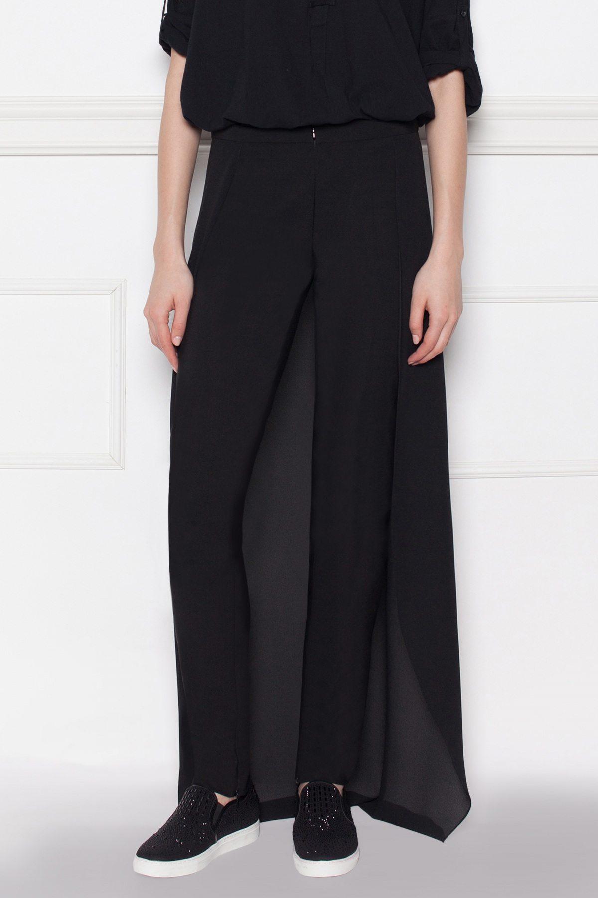 Pantaloni negri cu detaliu din voal Negru