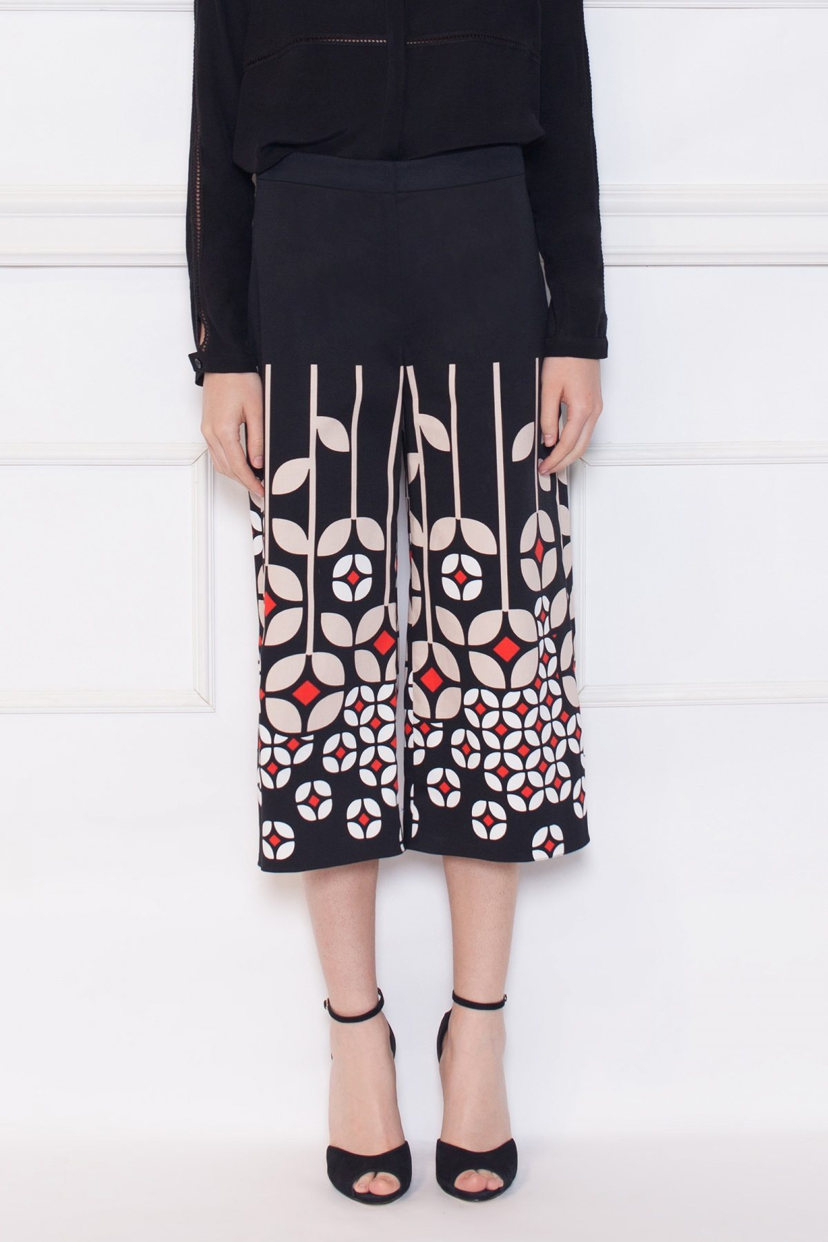 Pantaloni cullotes cu imprimeu Print
