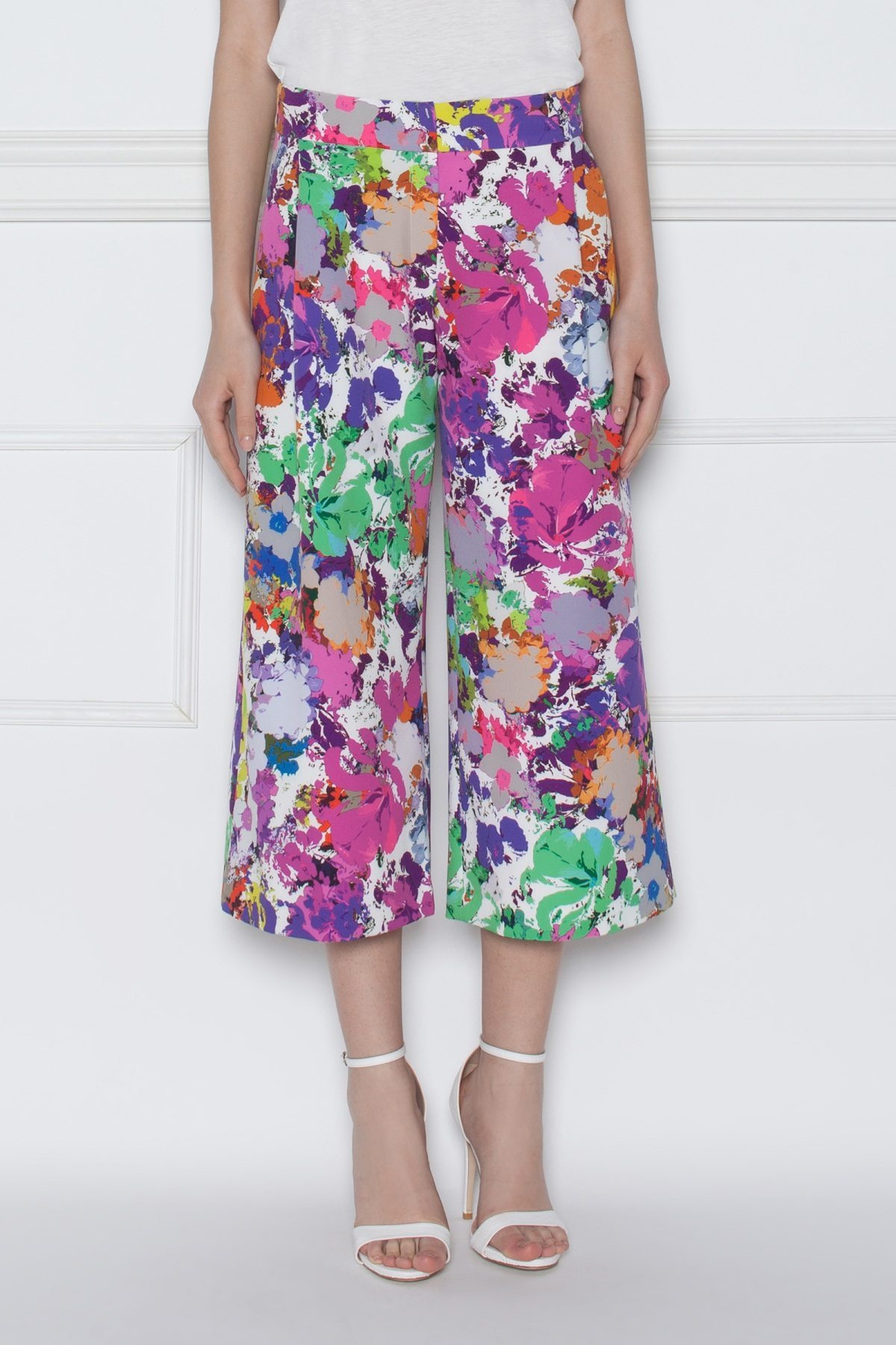 Pantaloni culottes cu imprimeu floral Print