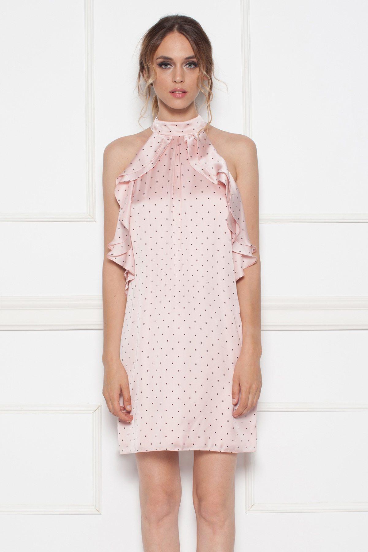 Rochie mini roz cu buline Roz