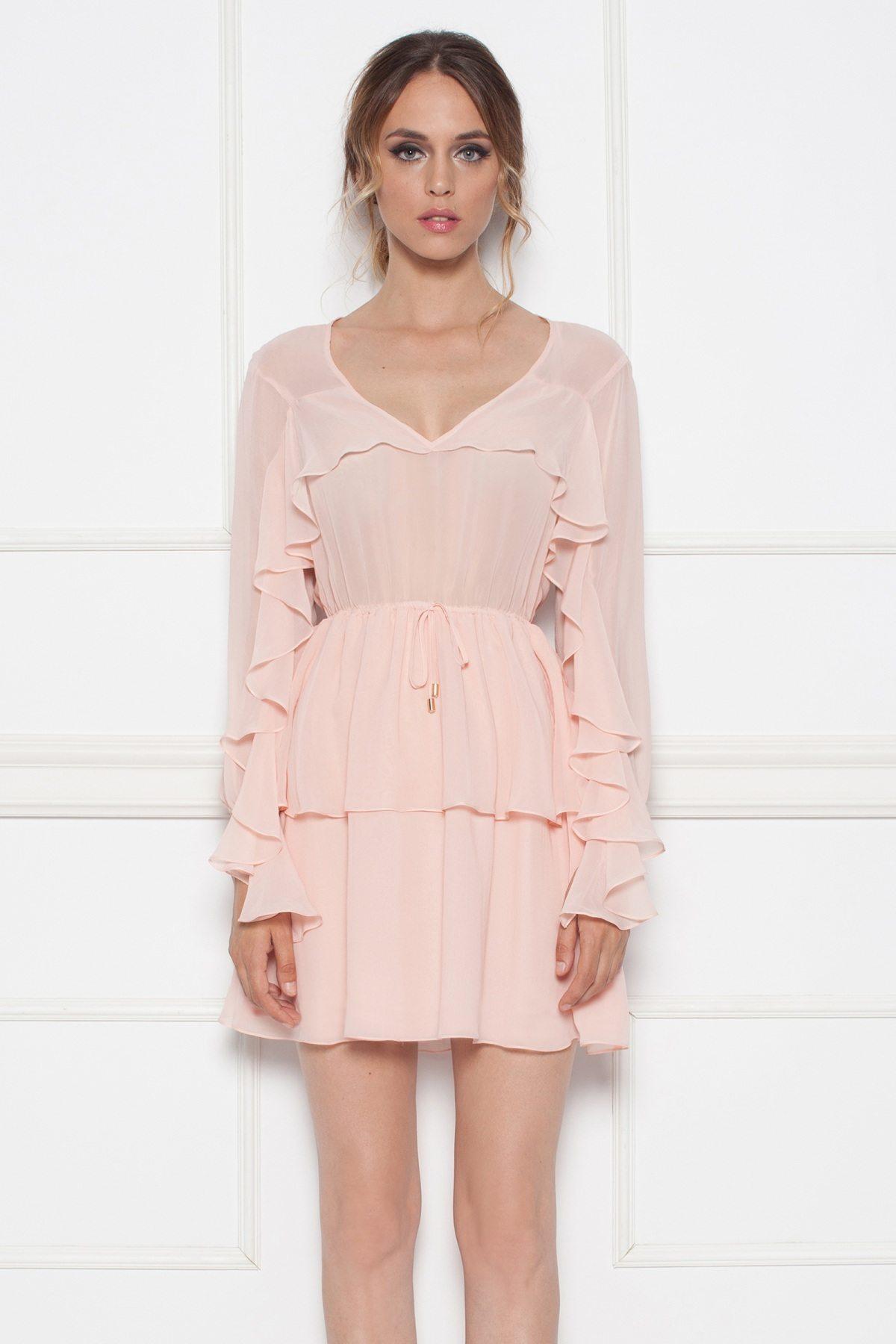 Rochie roz mini cu volane Roz