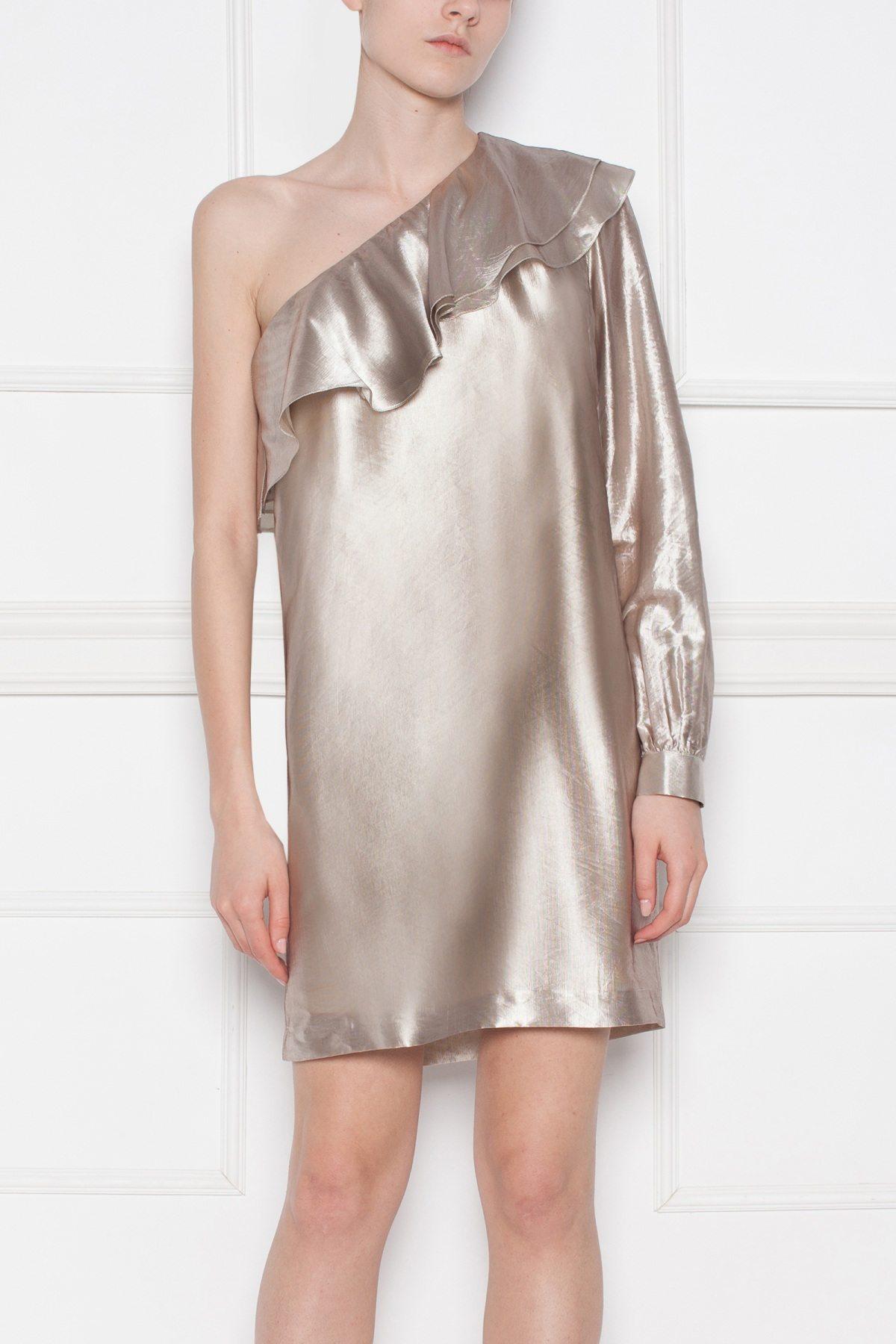 Rochie de seara cu reflexe metalice Bej