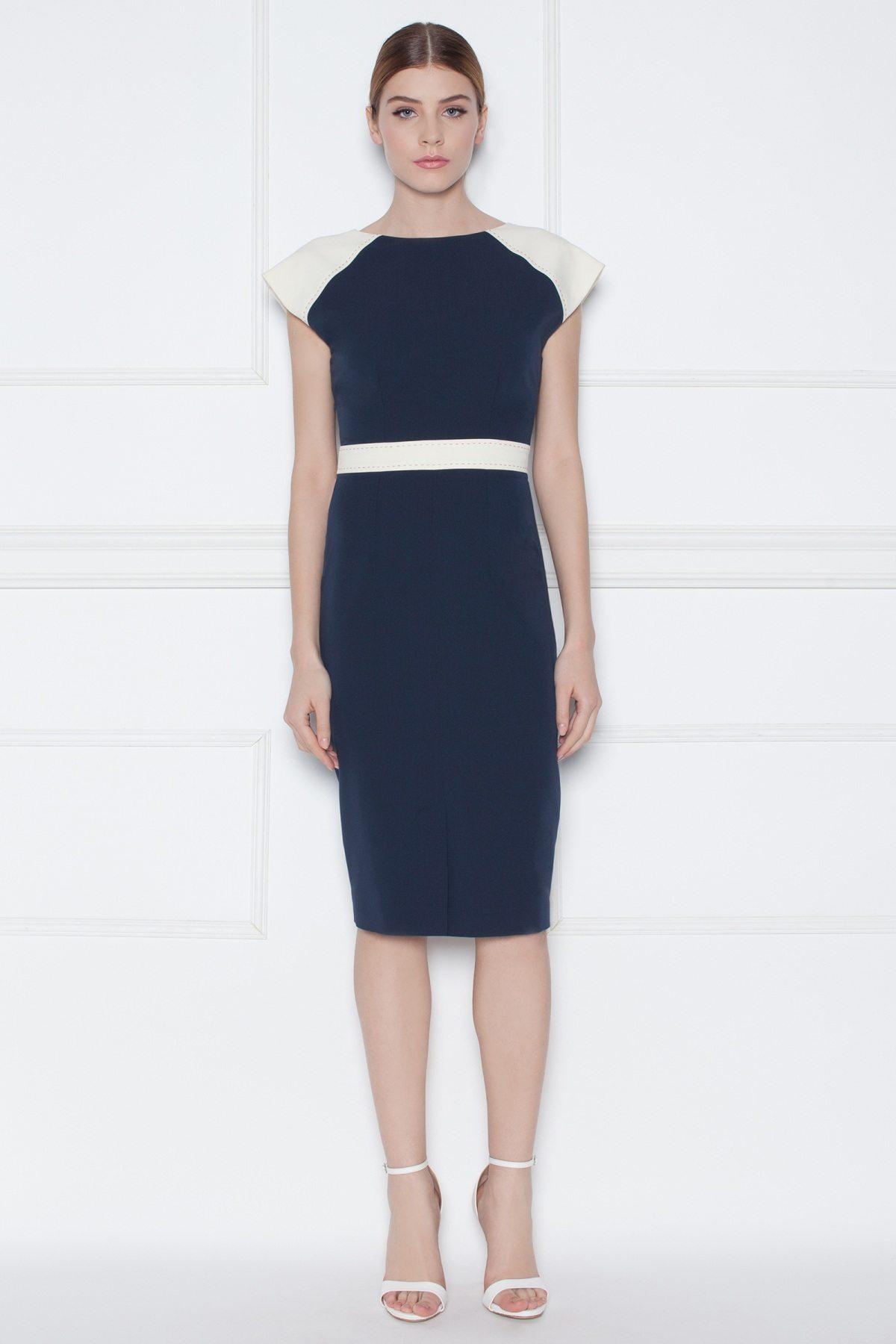 Rochie de zi cu detalii contrastante Bleumarin