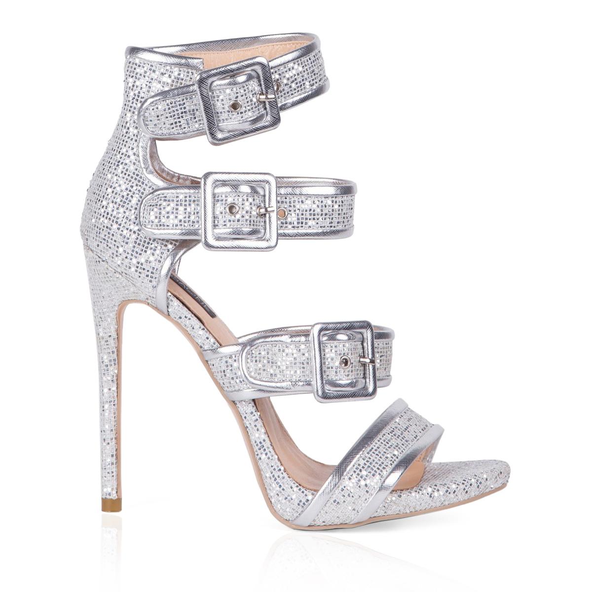 Sandale argintii cu toc Argintiu