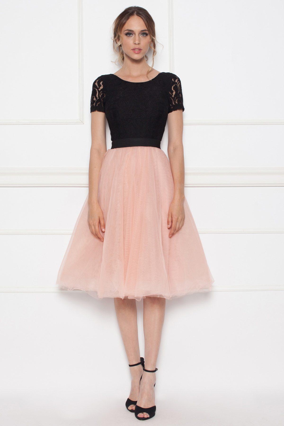 Rochie midi cu fusta din tul Roz/Negru