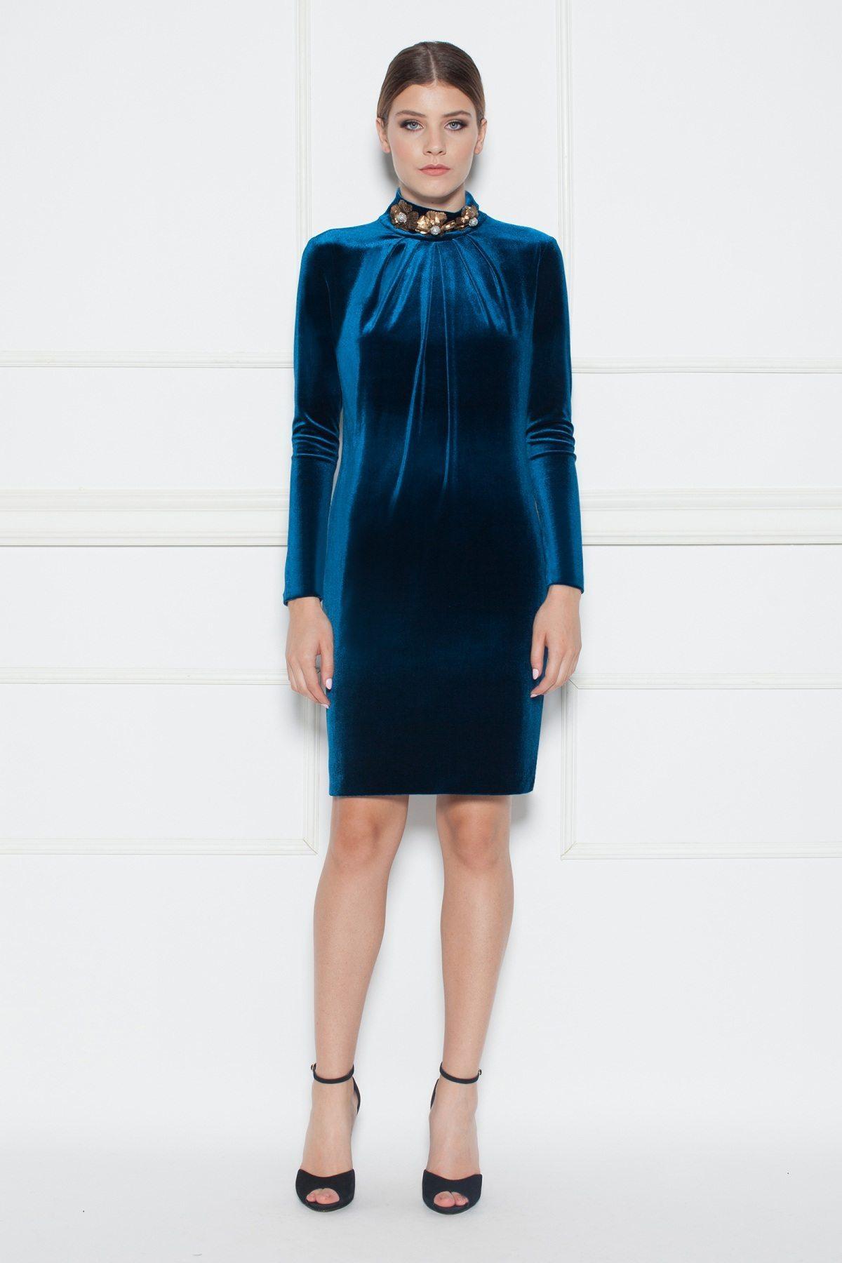 Rochie din catifea cu paiete pe guler Albastru