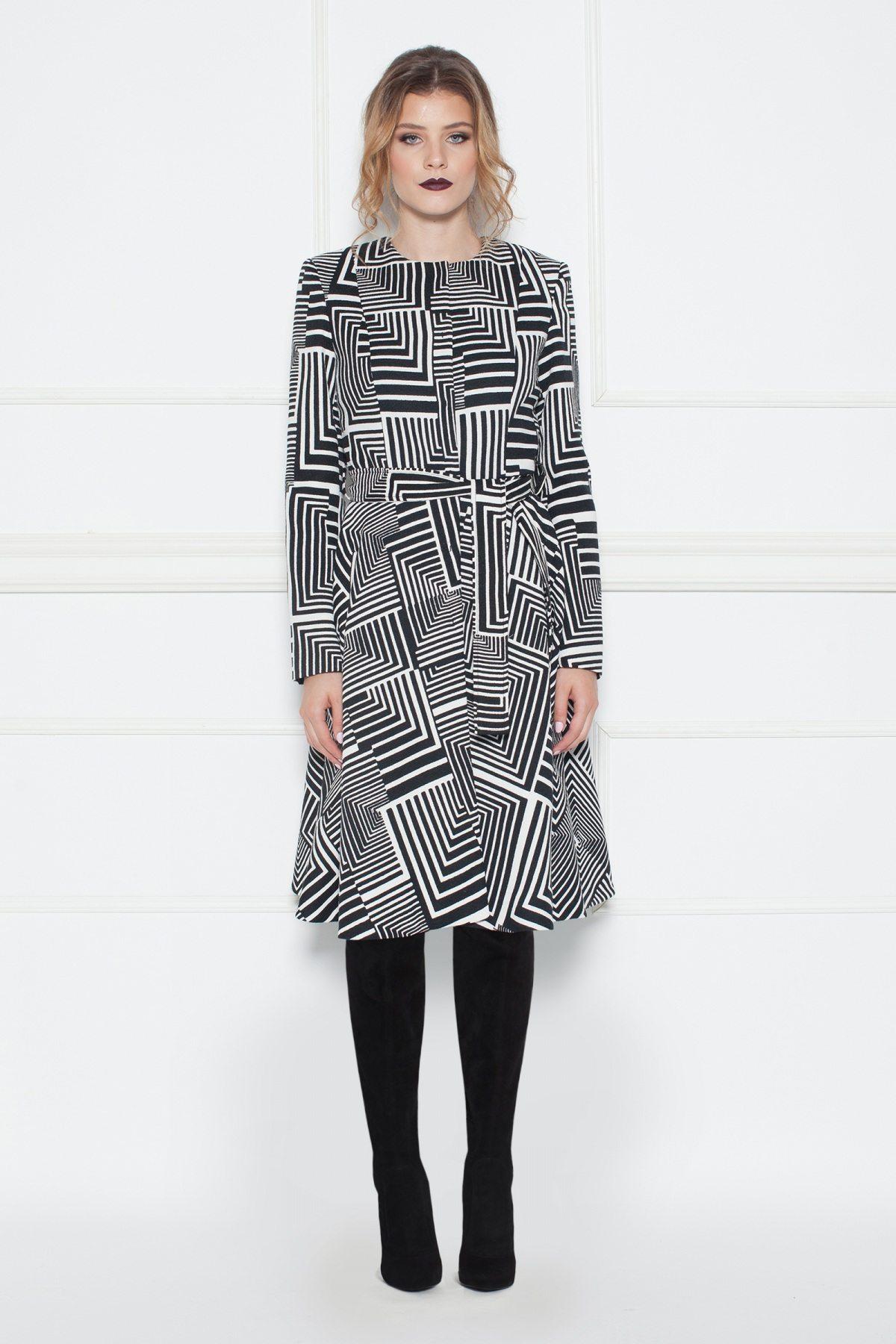 Palton cu print geometric Alb/Negru